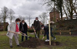 Vier Personen schaufeln Erde in ein Planzloch mit einem kleinen Baumsetzling.