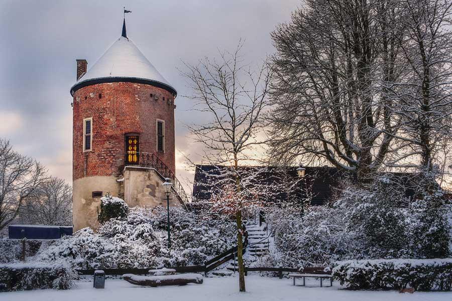 Ansicht vom Burgturm in Davensberg, im Winter