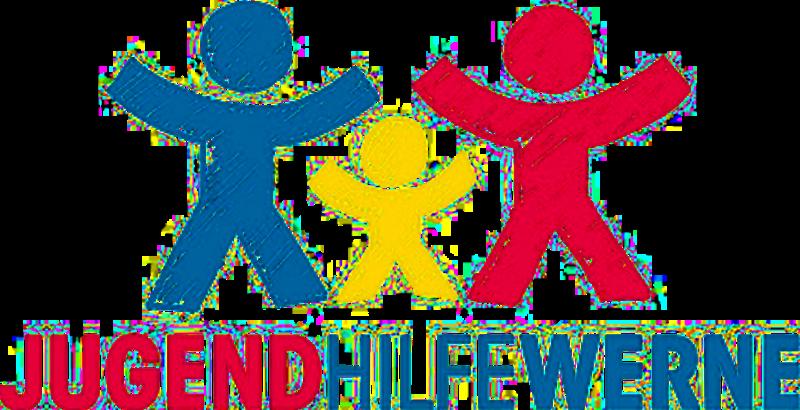 Das Logo der Jugendhilfe in Werne. 3 gezeichnete bunte Figuren.