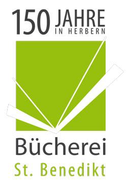 Das Logo der Bücherei in Herbern, mit dem Slogan 150 Jahre in Herbern.