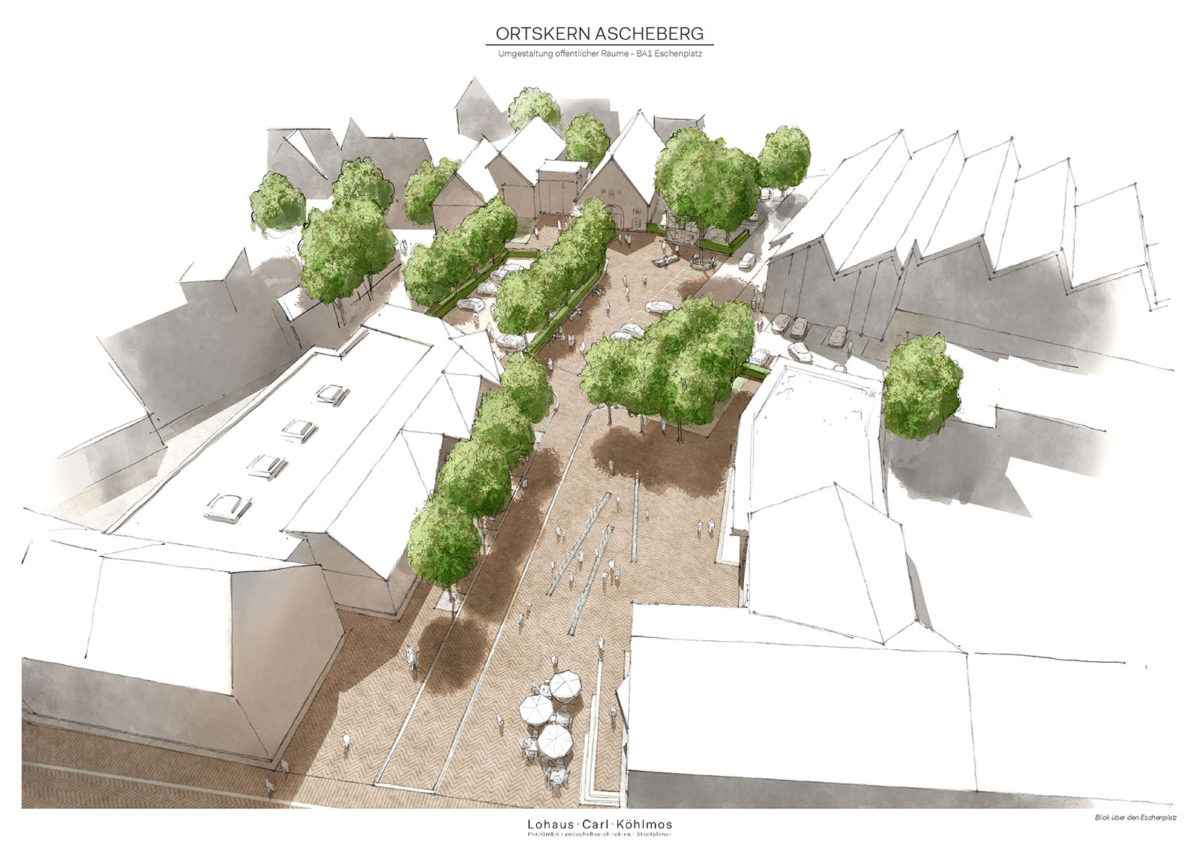Architekturzeichung des Eschenplatzes aus der Vogelperspektive