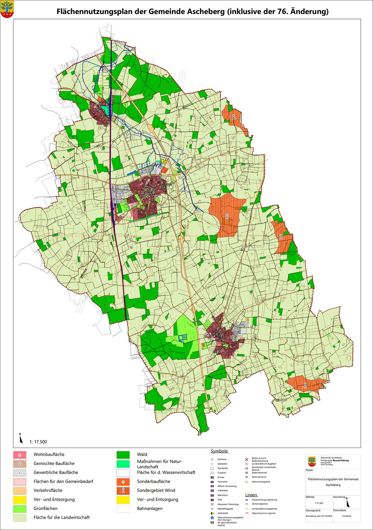 Der aktuelle Flächennutzungsplan der Gemeinde Ascheberg