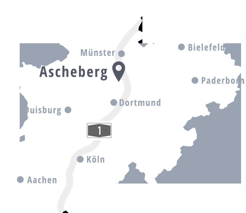 Stilisierte Landkarte mit Ascheberg und anderen größeren Städten.