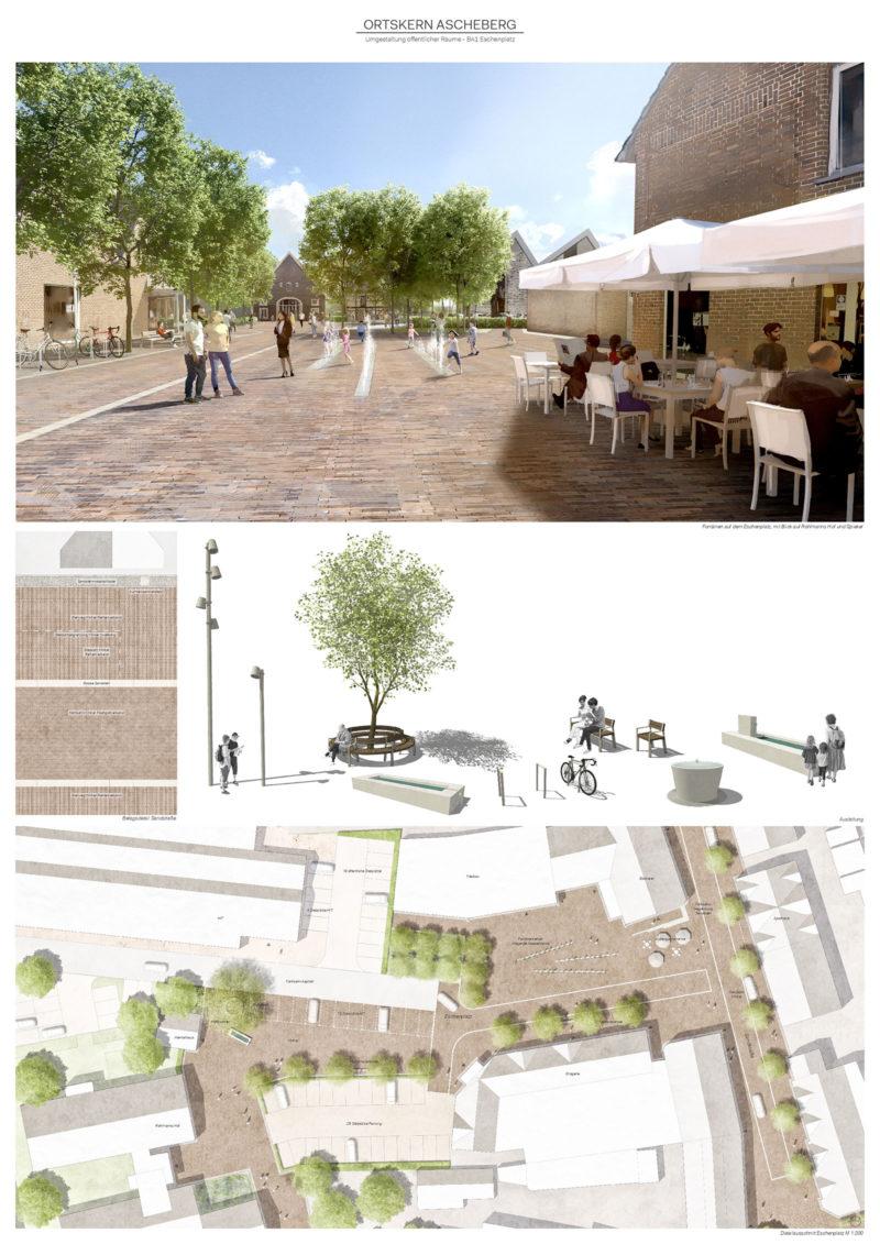 Photomontage Platzgestaltung Eschenplatz in Ascheberg