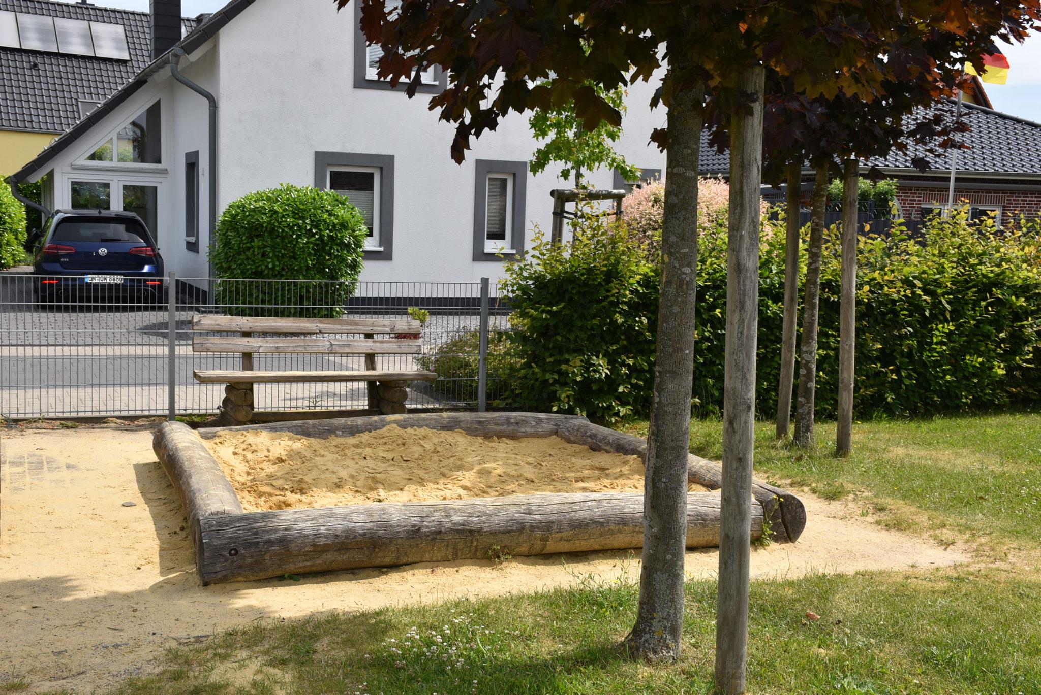Übersicht Sandkasten Spielplatz Mühlenberg