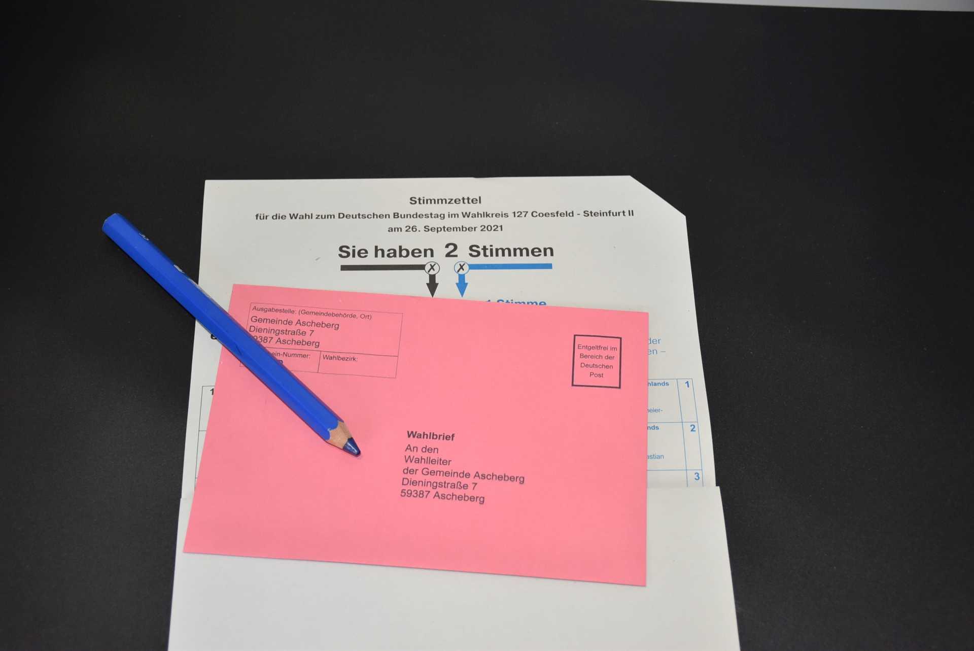 Briefwahlumschlag und Kopf des Stimmzettels Bundestagswahl 2021 Gemeinde Ascheberg