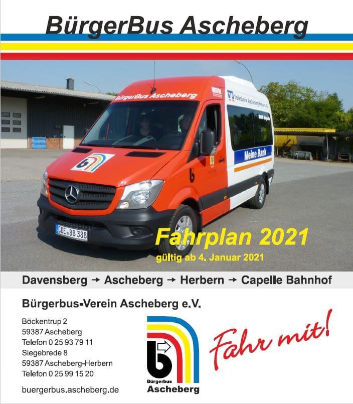 Bürgerbus Fahrplan 2021 Deckblatt