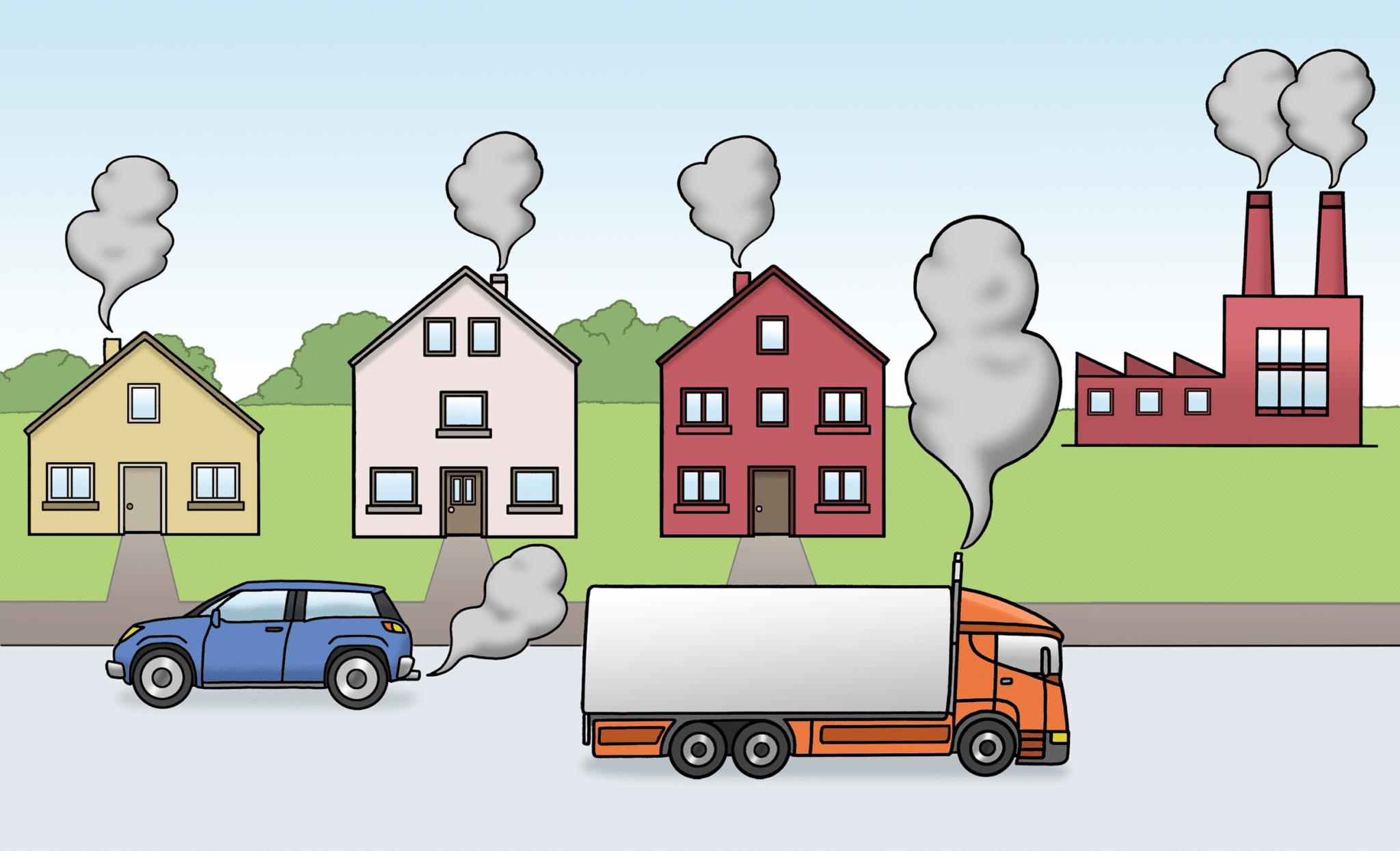 Autos und Häuser mit Abgasen