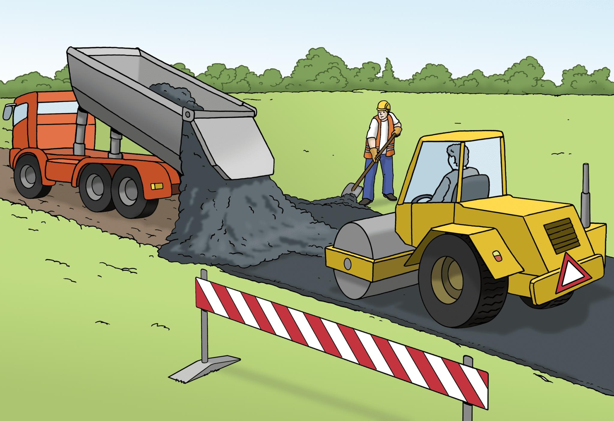 Baufahrzeuge bauen eine Straße