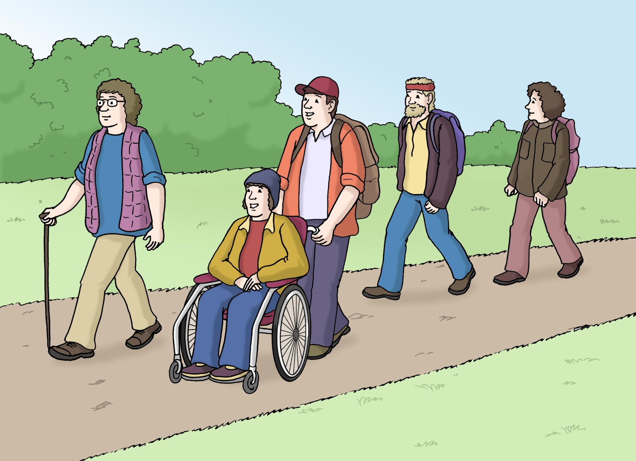 Menschen gehen spazieren
