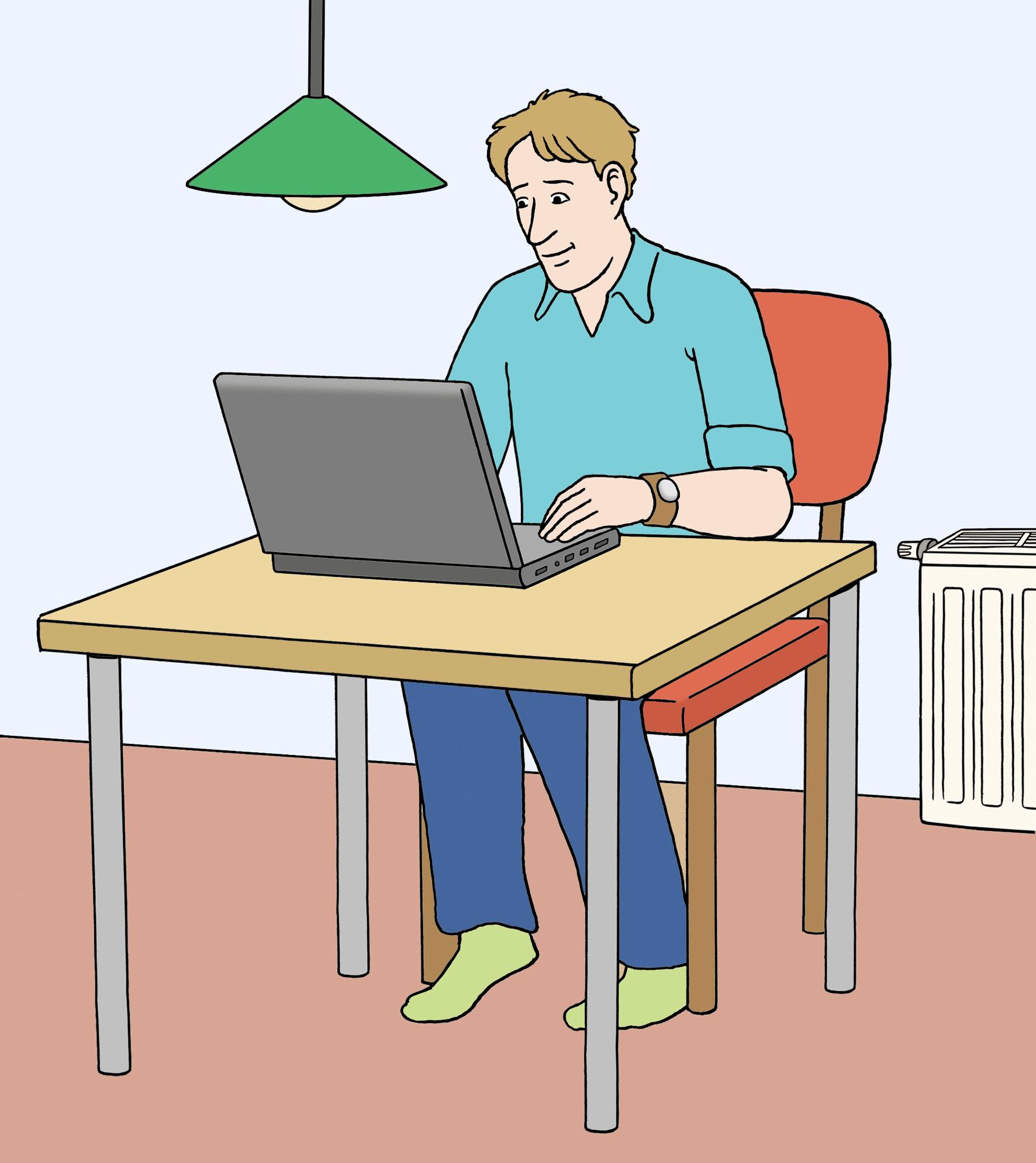 Person mit einem Laptop