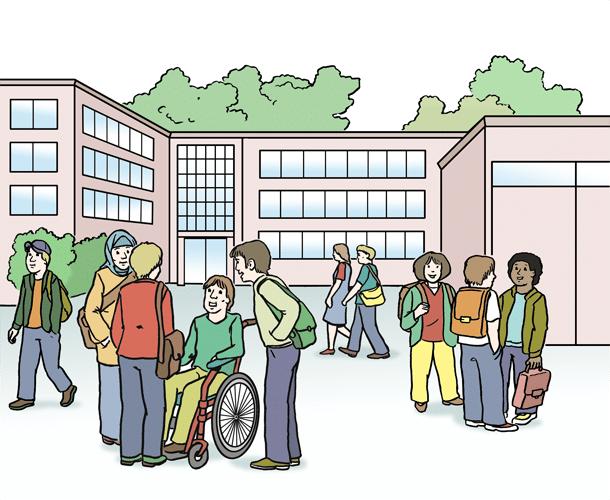 Menschen auf dem Schulhof