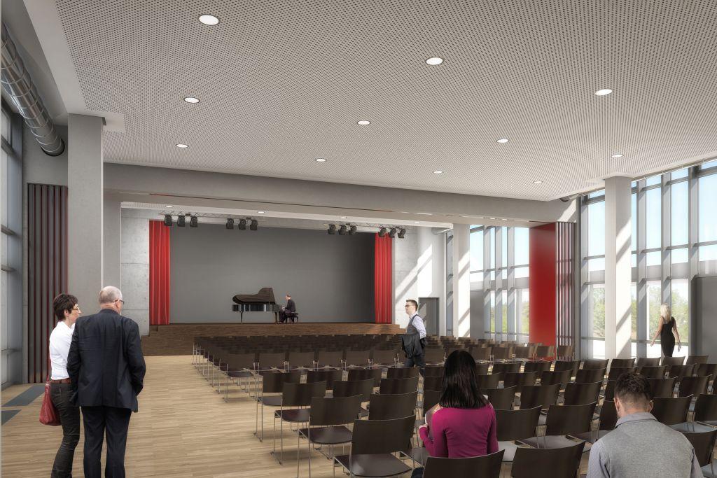 Visualisierung der neuen Aula Herbern